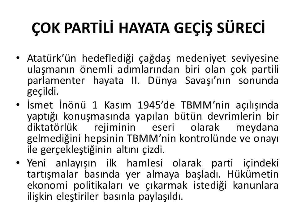 ÇOK PARTİLİ HAYATA GEÇİŞ SÜRECİ Atatürk'ün hedeflediği çağdaş medeniyet seviyesine ulaşmanın önemli adımlarından biri olan çok partili parlamenter hay