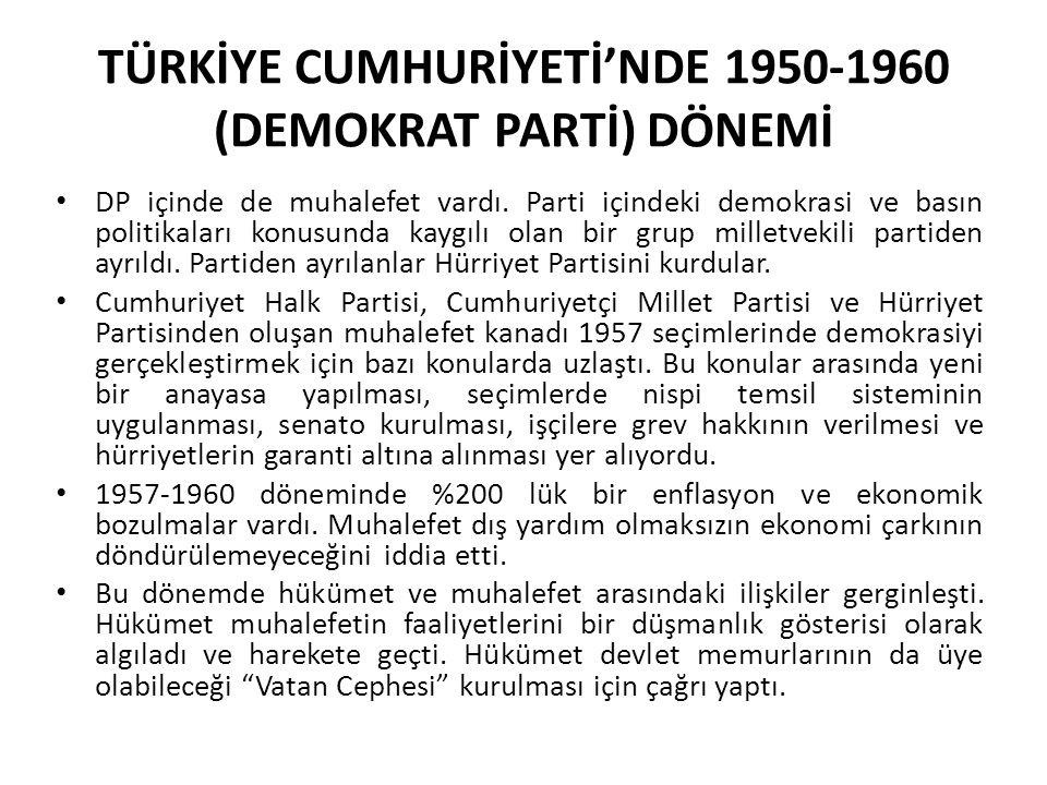 TÜRKİYE CUMHURİYETİ'NDE 1950-1960 (DEMOKRAT PARTİ) DÖNEMİ DP içinde de muhalefet vardı. Parti içindeki demokrasi ve basın politikaları konusunda kaygı