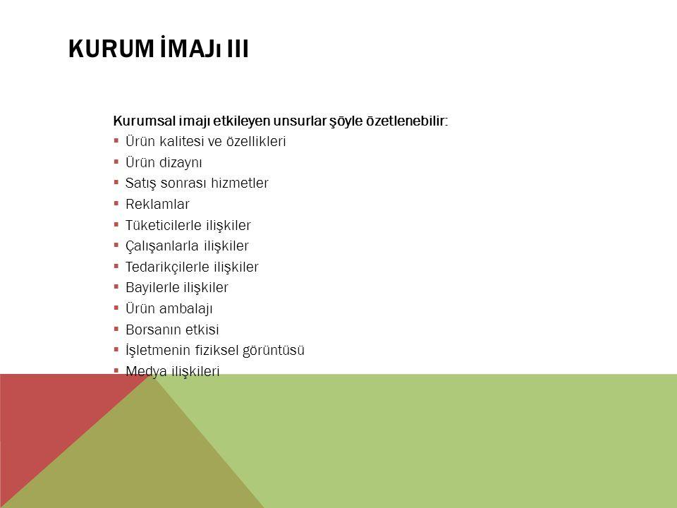 KURUM İMAJı III Kurumsal imajı etkileyen unsurlar şöyle özetlenebilir:  Ürün kalitesi ve özellikleri  Ürün dizaynı  Satış sonrası hizmetler  Reklamlar  Tüketicilerle ilişkiler  Çalışanlarla ilişkiler  Tedarikçilerle ilişkiler  Bayilerle ilişkiler  Ürün ambalajı  Borsanın etkisi  İşletmenin fiziksel görüntüsü  Medya ilişkileri