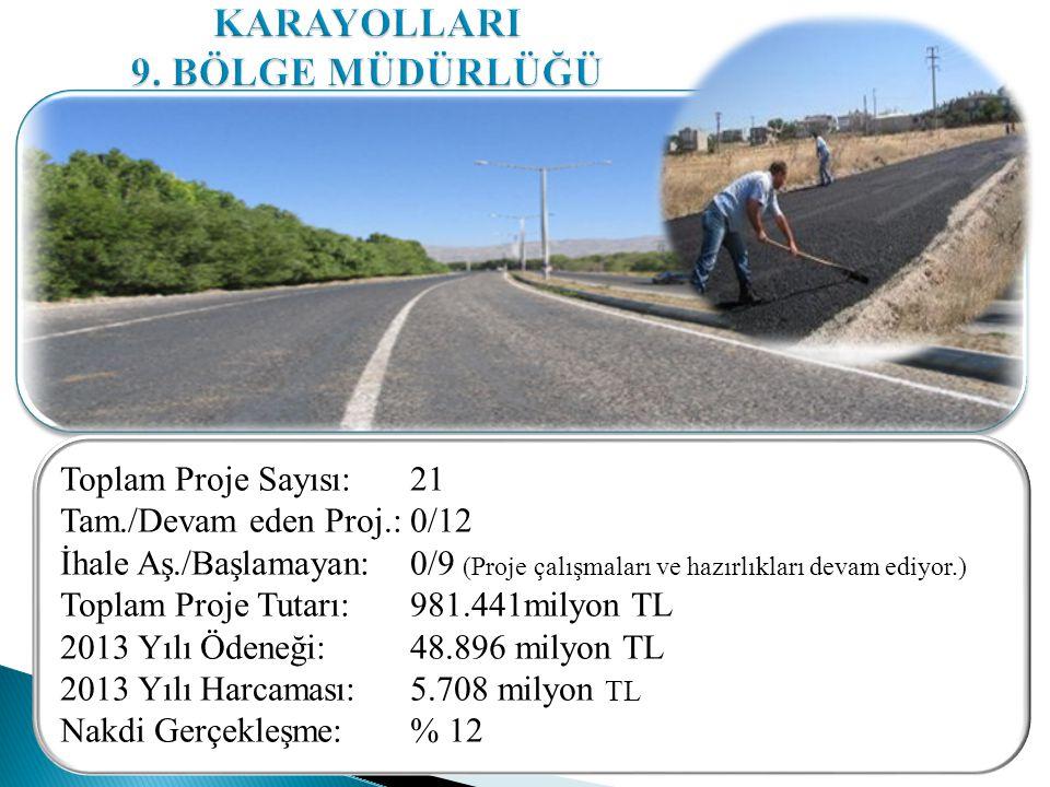 Toplam Proje Sayısı: 21 Tam./Devam eden Proj.: 0/12 İhale Aş./Başlamayan: 0/9 (Proje çalışmaları ve hazırlıkları devam ediyor.) Toplam Proje Tutarı: 981.441milyon TL 2013 Yılı Ödeneği: 48.896 milyon TL 2013 Yılı Harcaması: 5.708 milyon TL Nakdi Gerçekleşme: % 12