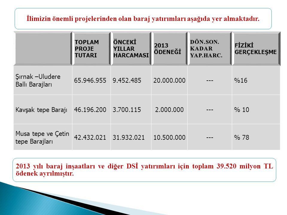 TOPLAM PROJE TUTARI ÖNCEKİ YILLAR HARCAMASI 2013 ÖDENEĞİ FİZİKİ GERÇEKLEŞME Şırnak –Uludere Ballı Barajları 65.946.9559.452.48520.000.000---%16 Kavşak tepe Barajı46.196.2003.700.1152.000.000---% 10 Musa tepe ve Çetin tepe Barajları 42.432.02131.932.02110.500.000---% 78 İlimizin önemli projelerinden olan baraj yatırımları aşağıda yer almaktadır.