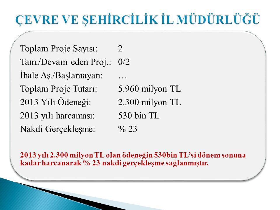 Toplam Proje Sayısı: 2 Tam./Devam eden Proj.: 0/2 İhale Aş./Başlamayan: … Toplam Proje Tutarı: 5.960 milyon TL 2013 Yılı Ödeneği: 2.300 milyon TL 2013 yılı harcaması: 530 bin TL Nakdi Gerçekleşme: % 23 2013 yılı 2.300 milyon TL olan ödeneğin 530bin TL'si dönem sonuna kadar harcanarak % 23 nakdi gerçekleşme sağlanmıştır.