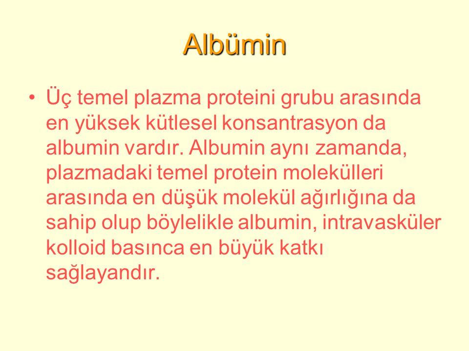 Albümin Üç temel plazma proteini grubu arasında en yüksek kütlesel konsantrasyon da albumin vardır.