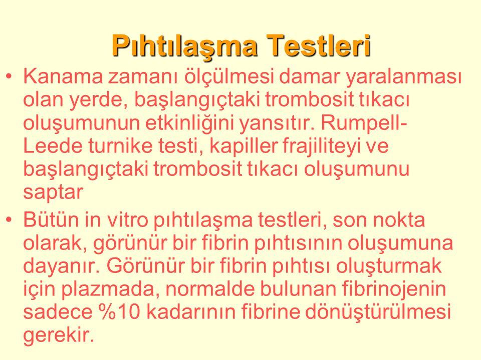 Pıhtılaşma Testleri Kanama zamanı ölçülmesi damar yaralanması olan yerde, başlangıçtaki trombosit tıkacı oluşumunun etkinliğini yansıtır.