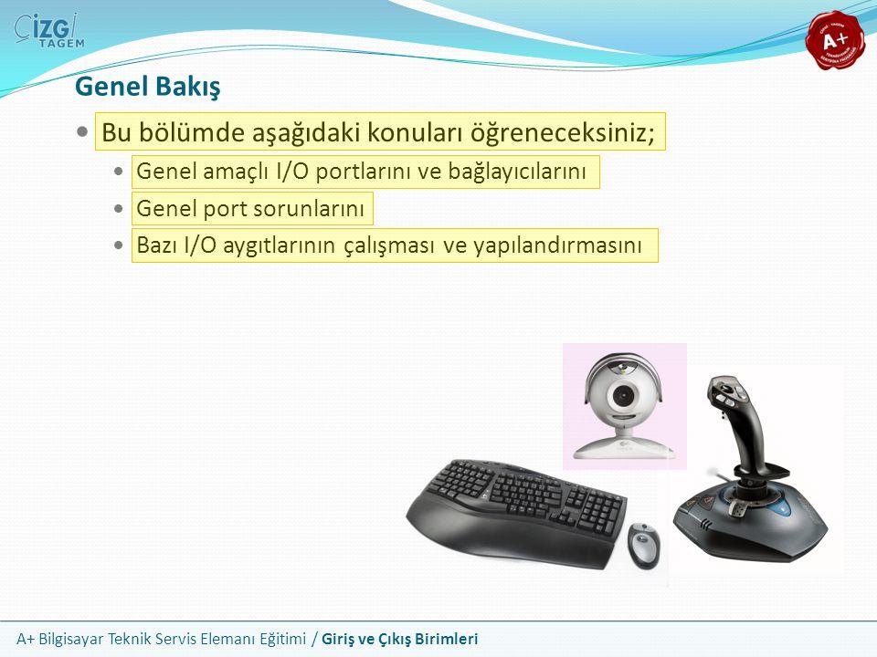 A+ Bilgisayar Teknik Servis Elemanı Eğitimi / Giriş ve Çıkış Birimleri Kablosuz I/O Aygıtlarının Yapılandırılması Bu aygıtların hem kendileri, hem de bağlantı arayüzleri çoğunlukla kendinden ayarlıdır; tak ve çalıştıra uyumludur En önemli işlem aygıtların alıcılar ile iletişiminin kurulmasıdır Kablosuz klavye ve farelerin üzerinde algılama butonları vardır Bu aygıtlar için enerji beslemesi genellikle pil ile yapılır Kullanmadığınız zamanlarda pillerin daha uzun dayanması için aygıtı üzerindeki butondan kapatmanız gerekir