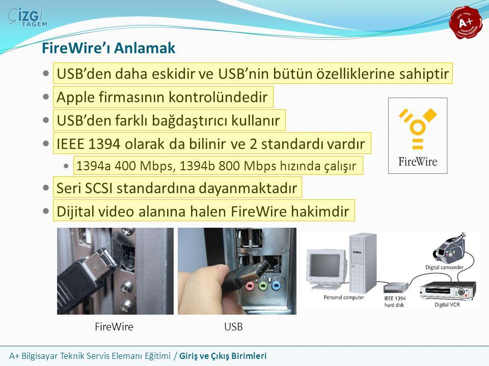 A+ Bilgisayar Teknik Servis Elemanı Eğitimi / Giriş ve Çıkış Birimleri USB'den daha eskidir ve USB'nin bütün özelliklerine sahiptir Apple firmasının kontrolündedir USB'den farklı bağdaştırıcı kullanır IEEE 1394 olarak da bilinir ve 2 standardı vardır 1394a 400 Mbps, 1394b 800 Mbps hızında çalışır Seri SCSI standardına dayanmaktadır Dijital video alanına halen FireWire hakimdir FireWire'ı Anlamak FireWireUSB