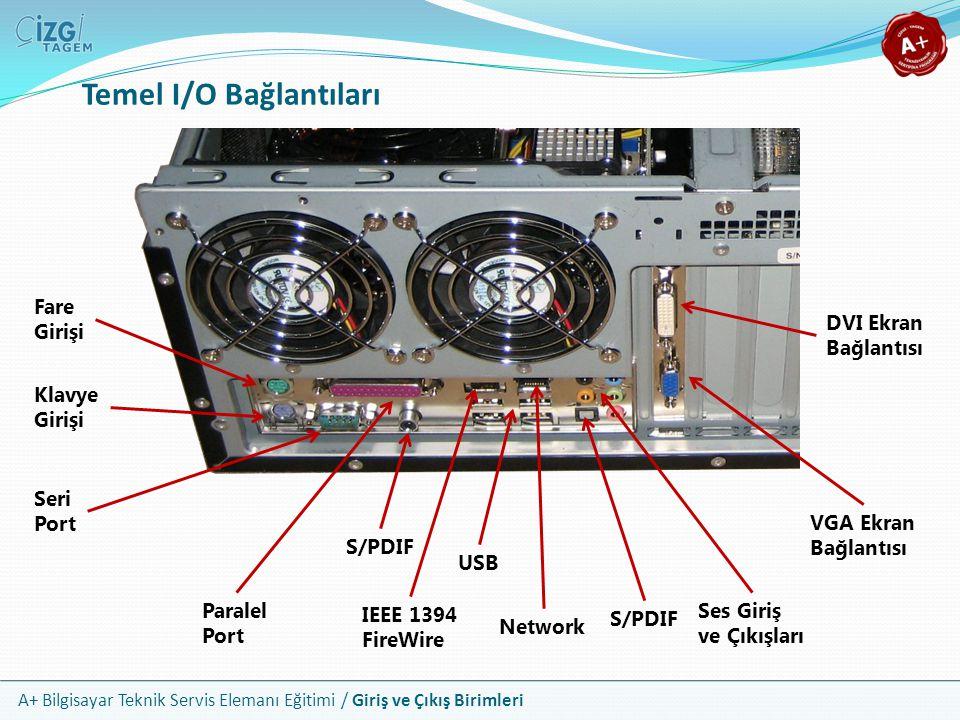 A+ Bilgisayar Teknik Servis Elemanı Eğitimi / Giriş ve Çıkış Birimleri Temel I/O Bağlantıları Fare Girişi Klavye Girişi Seri Port Paralel Port S/PDIF IEEE 1394 FireWire USB Network Ses Giriş ve Çıkışları VGA Ekran Bağlantısı DVI Ekran Bağlantısı