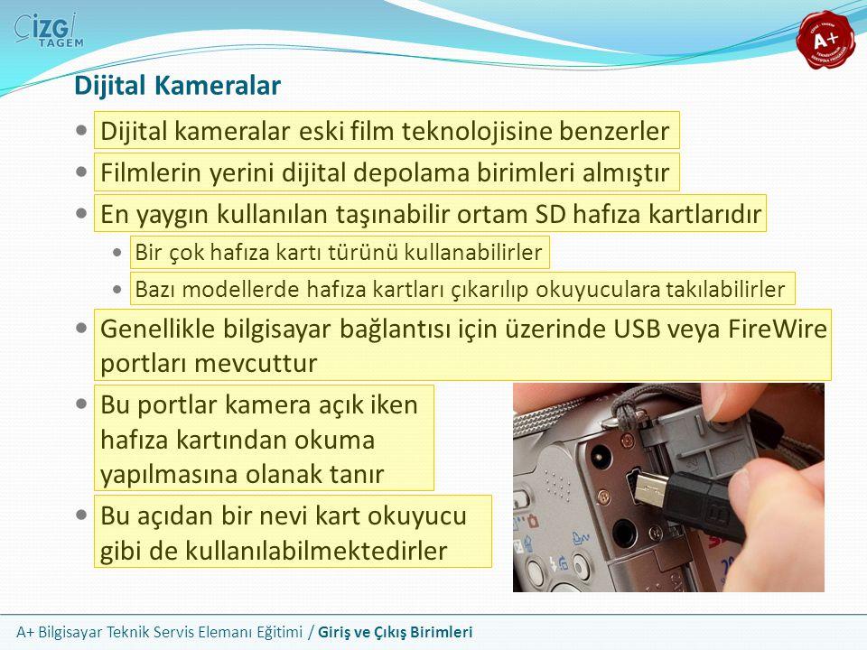 A+ Bilgisayar Teknik Servis Elemanı Eğitimi / Giriş ve Çıkış Birimleri Dijital Kameralar Dijital kameralar eski film teknolojisine benzerler Filmlerin yerini dijital depolama birimleri almıştır En yaygın kullanılan taşınabilir ortam SD hafıza kartlarıdır Bir çok hafıza kartı türünü kullanabilirler Bazı modellerde hafıza kartları çıkarılıp okuyuculara takılabilirler Genellikle bilgisayar bağlantısı için üzerinde USB veya FireWire portları mevcuttur Bu portlar kamera açık iken hafıza kartından okuma yapılmasına olanak tanır Bu açıdan bir nevi kart okuyucu gibi de kullanılabilmektedirler