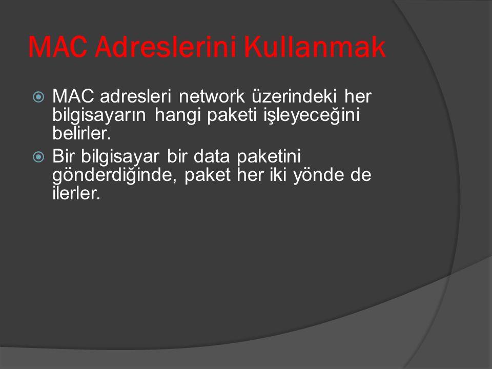 MAC Adreslerini Kullanmak MMAC adresleri network üzerindeki her bilgisayarın hangi paketi işleyeceğini belirler. BBir bilgisayar bir data paketini