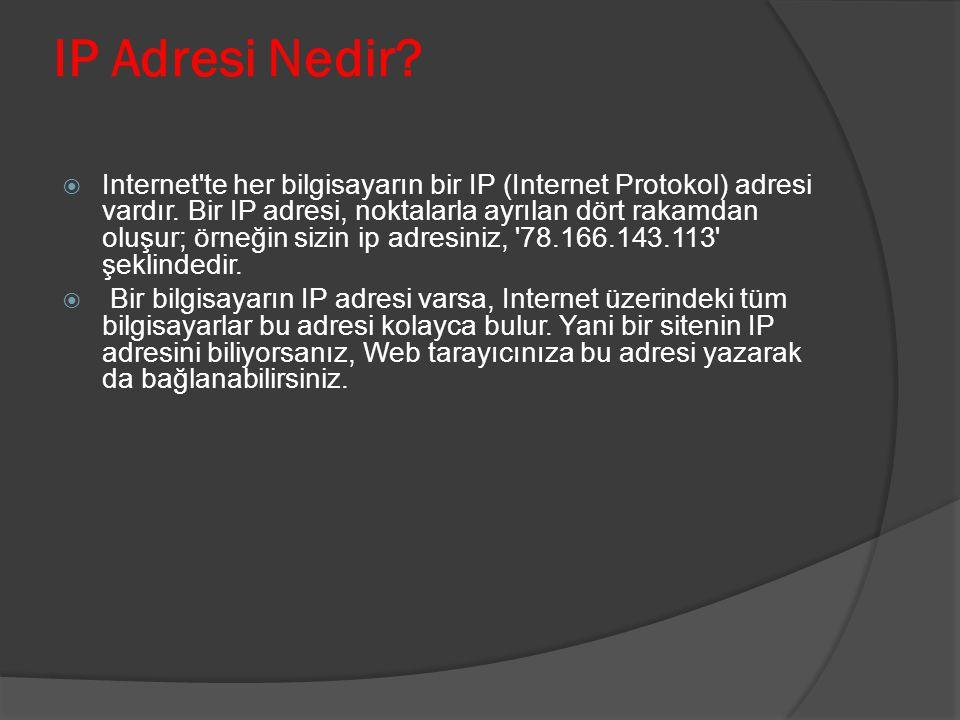 IP Adresi Nedir?  Internet'te her bilgisayarın bir IP (Internet Protokol) adresi vardır. Bir IP adresi, noktalarla ayrılan dört rakamdan oluşur; örne