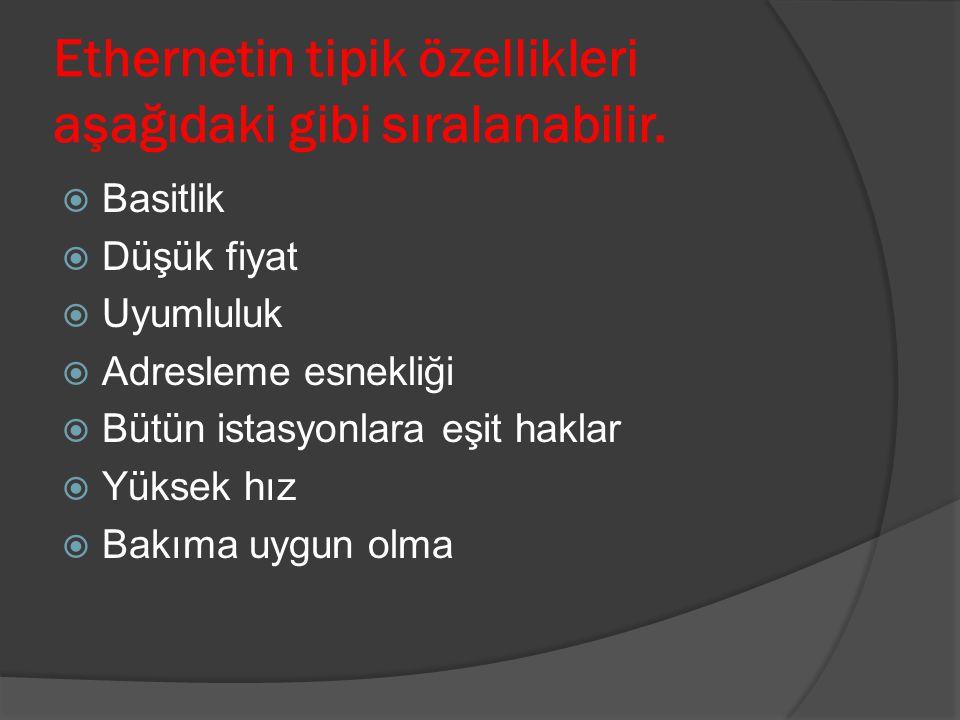 Ethernet Çeşitleri EEthernet (3 Mbps, 5 Mbps, 10 Mbps) FFast Ethernet (100 Mbps) GGigabit Ethernet (1 Gbps) 110 Gigabit Ethernet (10 Gbps)