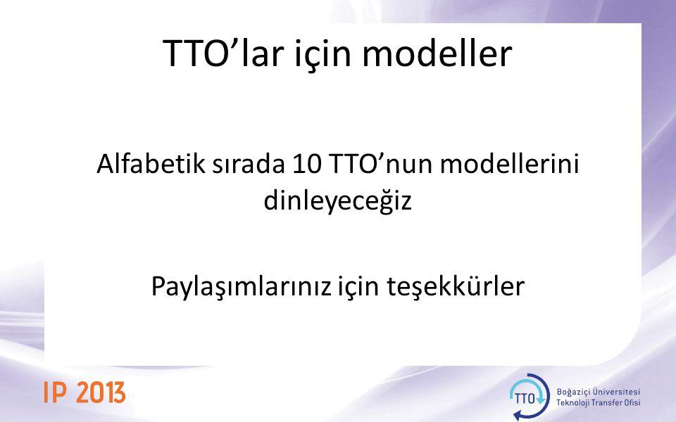 TTO'lar için modeller Alfabetik sırada 10 TTO'nun modellerini dinleyeceğiz Paylaşımlarınız için teşekkürler