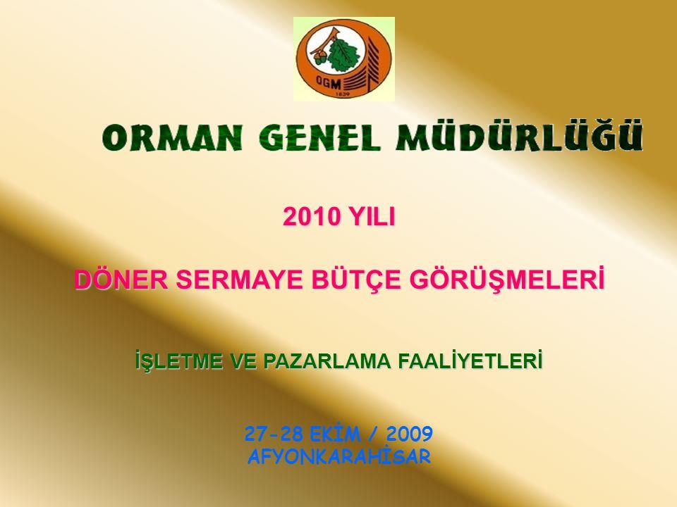 2009 YILI DEĞERLENDİRMESİ PİYASA DURUMU 2010 BÜTÇE ÖNERİLERİ Üretim Pazarlama Orman ürünleri dış ve iç piyasaları Karşılaşılan sorun ve darboğazlar 2010 Yılı Bütçe Önerileri