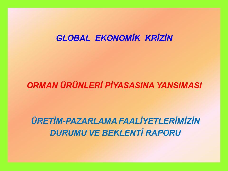 GLOBAL EKONOMİK KRİZİN ORMAN ÜRÜNLERİ PİYASASINA YANSIMASI ÜRETİM-PAZARLAMA FAALİYETLERİMİZİN DURUMU VE BEKLENTİ RAPORU