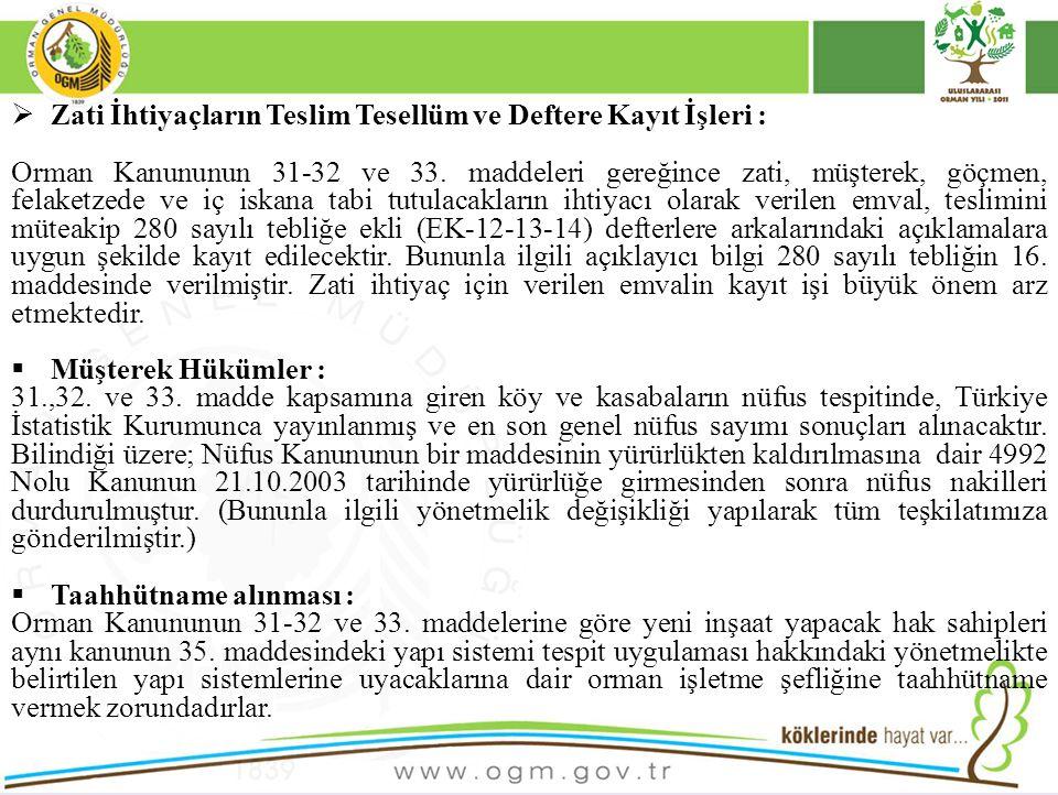  Zati İhtiyaçların Teslim Tesellüm ve Deftere Kayıt İşleri : Orman Kanununun 31-32 ve 33. maddeleri gereğince zati, müşterek, göçmen, felaketzede ve