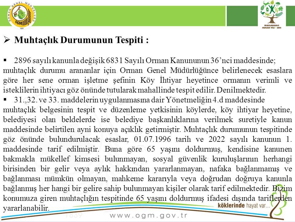  Muhtaçlık Durumunun Tespiti :  2896 sayılı kanunla değişik 6831 Sayılı Orman Kanununun 36'nci maddesinde; muhtaçlık durumu arananlar için Orman Gen
