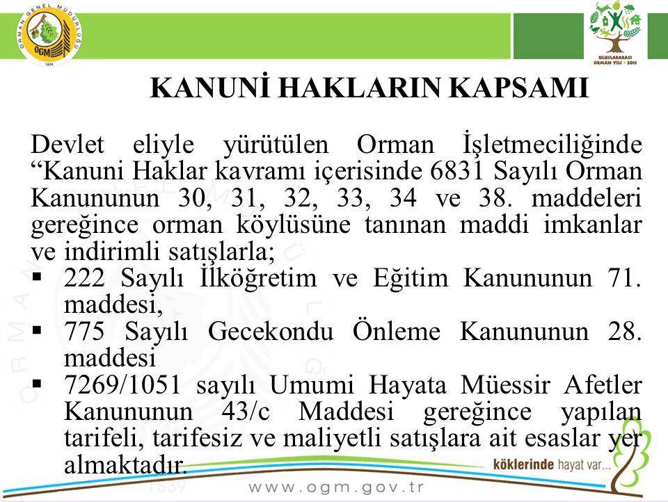 KANUNİ HAKLARIN KAPSAMI Devlet eliyle yürütülen Orman İşletmeciliğinde Kanuni Haklar kavramı içerisinde 6831 Sayılı Orman Kanununun 30, 31, 32, 33, 34 ve 38.