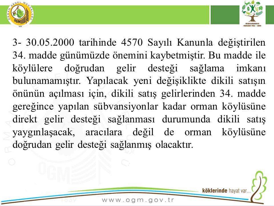 3- 30.05.2000 tarihinde 4570 Sayılı Kanunla değiştirilen 34. madde günümüzde önemini kaybetmiştir. Bu madde ile köylülere doğrudan gelir desteği sağla
