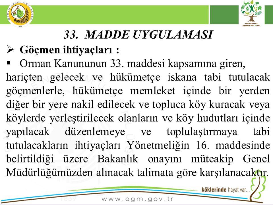 33. MADDE UYGULAMASI  Göçmen ihtiyaçları :  Orman Kanununun 33. maddesi kapsamına giren, hariçten gelecek ve hükümetçe iskana tabi tutulacak göçmenl