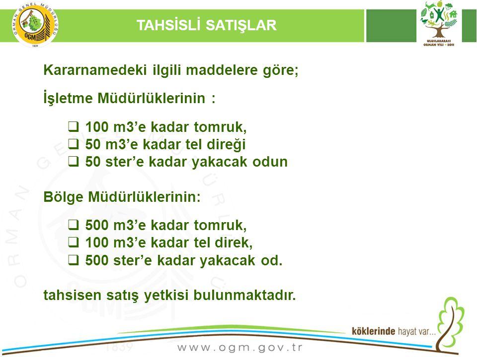 16/12/2010 Kurumsal Kimlik 31 Kararnamedeki ilgili maddelere göre; İşletme Müdürlüklerinin :  100 m3'e kadar tomruk,  50 m3'e kadar tel direği  50 ster'e kadar yakacak odun Bölge Müdürlüklerinin:  500 m3'e kadar tomruk,  100 m3'e kadar tel direk,  500 ster'e kadar yakacak od.