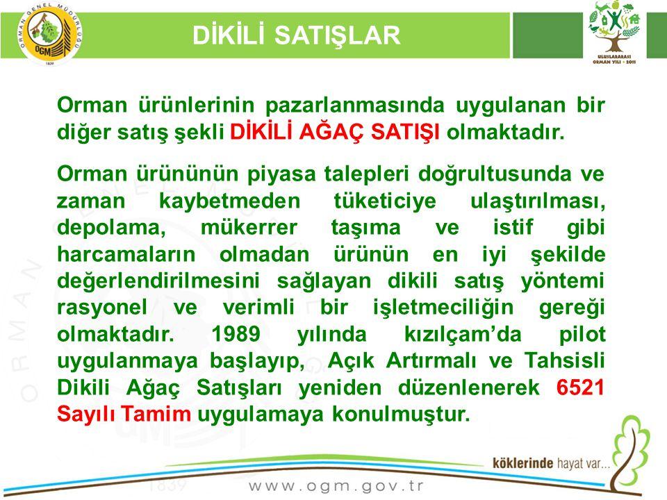 16/12/2010 Kurumsal Kimlik 56 DİKİLİ SATIŞLAR Orman ürünlerinin pazarlanmasında uygulanan bir diğer satış şekli DİKİLİ AĞAÇ SATIŞI olmaktadır.