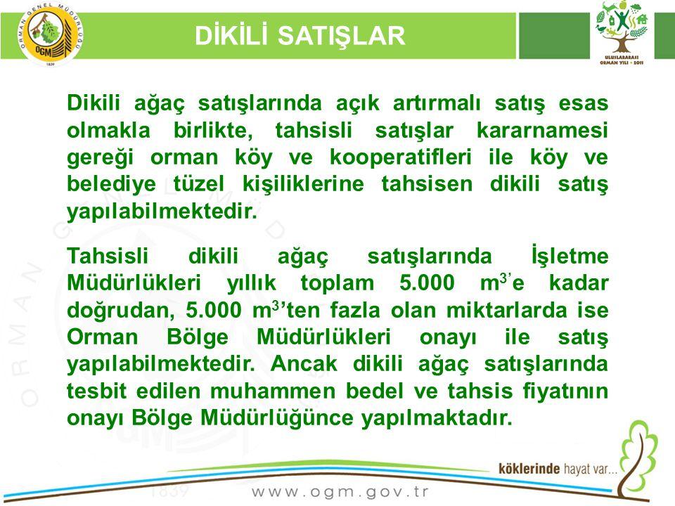 16/12/2010 Kurumsal Kimlik 57 DİKİLİ SATIŞLAR Dikili ağaç satışlarında açık artırmalı satış esas olmakla birlikte, tahsisli satışlar kararnamesi gereğ