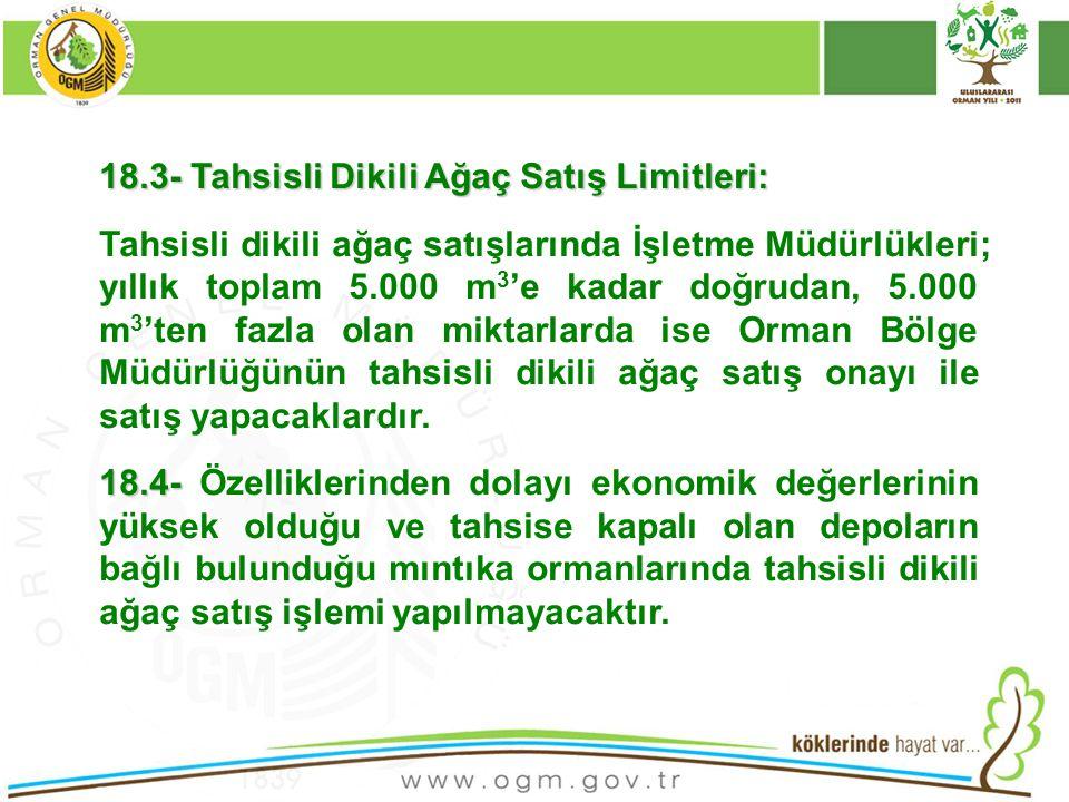 16/12/2010 Kurumsal Kimlik 78 18.3- Tahsisli Dikili Ağaç Satış Limitleri: Tahsisli dikili ağaç satışlarında İşletme Müdürlükleri; yıllık toplam 5.000
