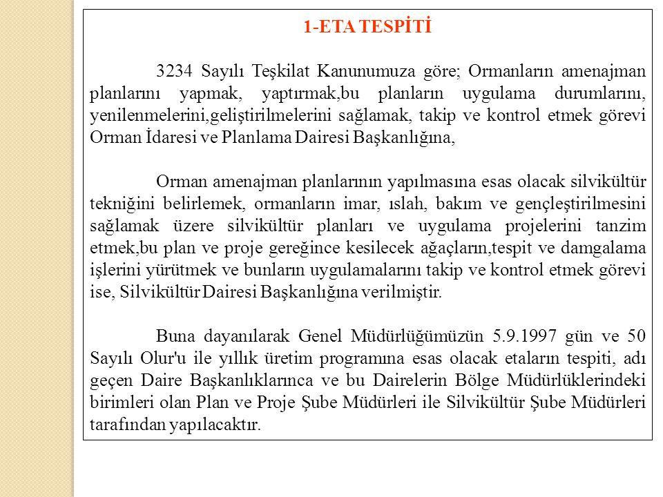 1-ETA TESPİTİ 3234 Sayılı Teşkilat Kanunumuza göre; Ormanların amenajman planlarını yapmak, yaptırmak,bu planların uygulama durumlarını, yenilenmeleri