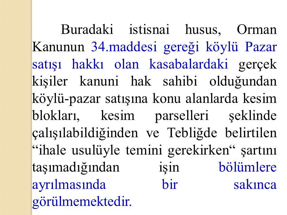 Buradaki istisnai husus, Orman Kanunun 34.maddesi gereği köylü Pazar satışı hakkı olan kasabalardaki gerçek kişiler kanuni hak sahibi olduğundan köylü