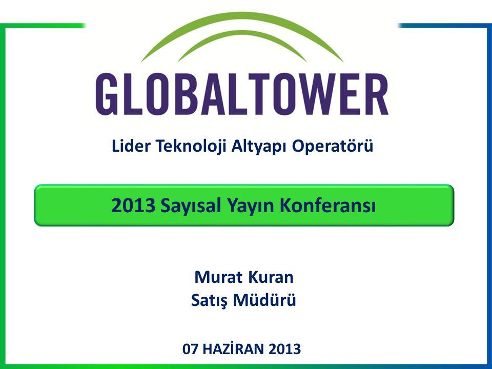 07 HAZİRAN 2013 Lider Teknoloji Altyapı Operatörü Murat Kuran Satış Müdürü 2013 Sayısal Yayın Konferansı