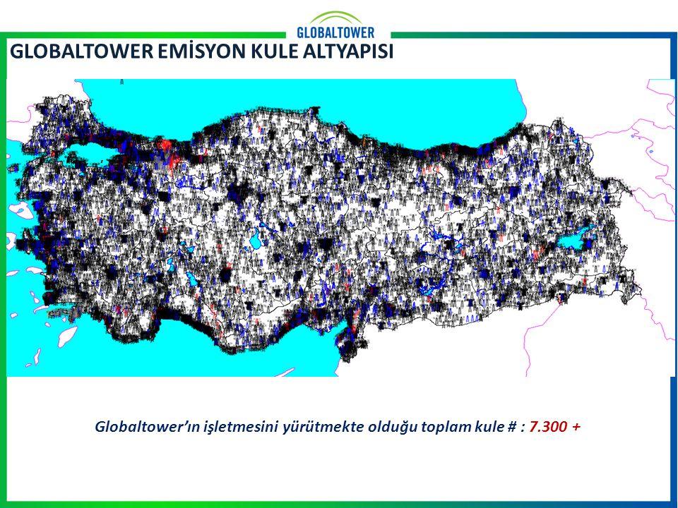 GLOBALTOWER EMİSYON KULE ALTYAPISI Globaltower'ın işletmesini yürütmekte olduğu toplam kule # : 7.300 +