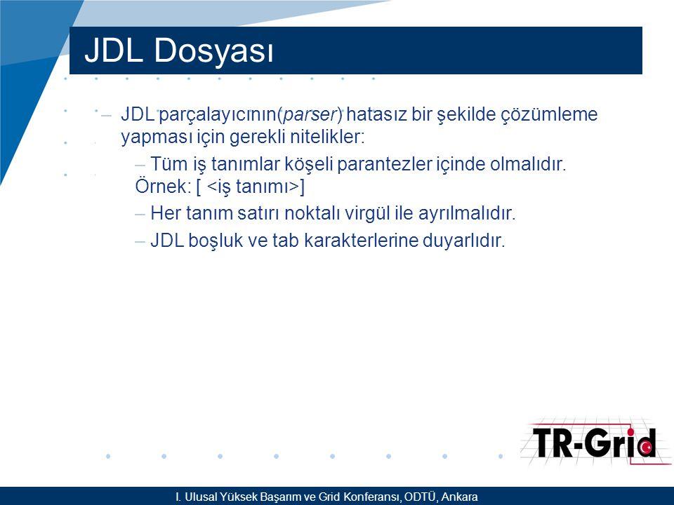 YEF @ TR-Grid Okulu, TAEK, ANKARA JDL Dosyası –JDL parçalayıcının(parser) hatasız bir şekilde çözümleme yapması için gerekli nitelikler: – Tüm iş tanımlar köşeli parantezler içinde olmalıdır.
