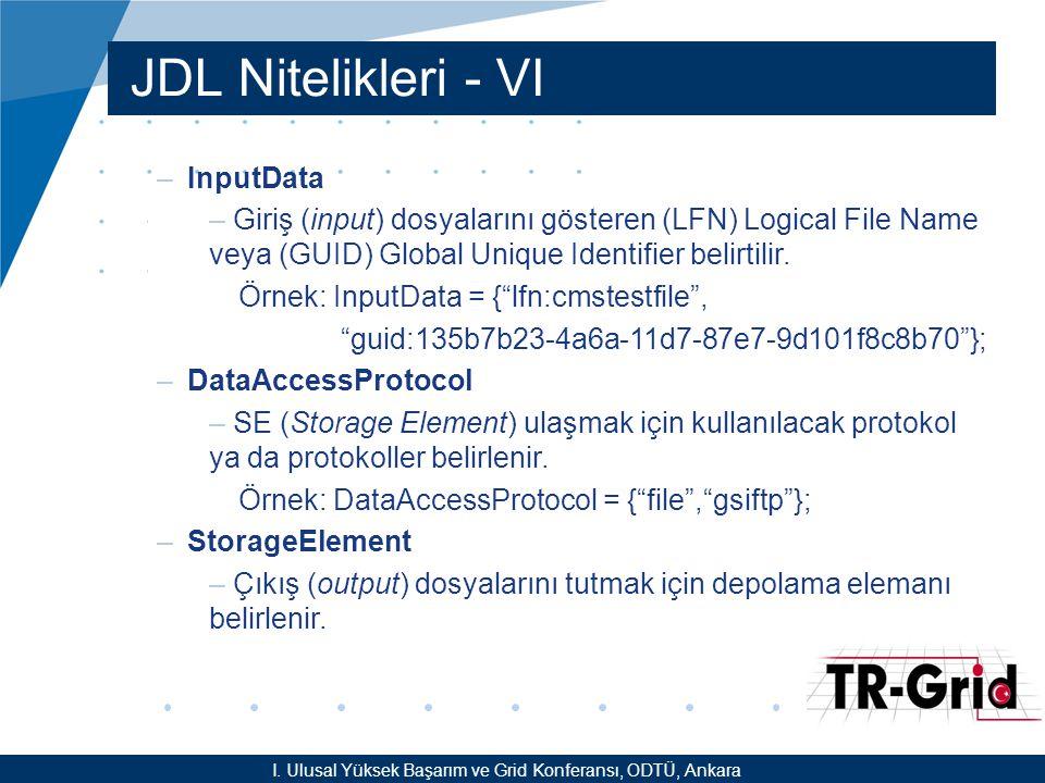 YEF @ TR-Grid Okulu, TAEK, ANKARA JDL Nitelikleri - VI –InputData – Giriş (input) dosyalarını gösteren (LFN) Logical File Name veya (GUID) Global Uniq