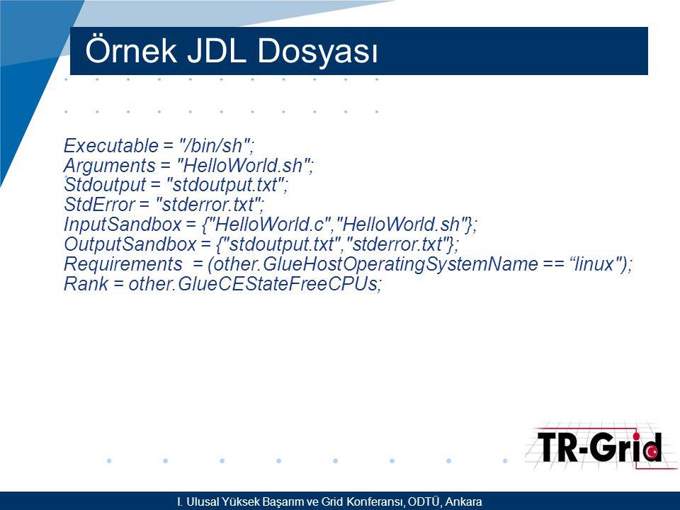 YEF @ TR-Grid Okulu, TAEK, ANKARA Örnek JDL Dosyası Executable =