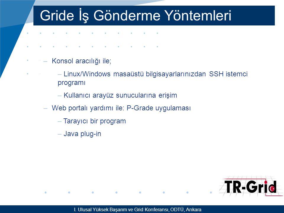 YEF @ TR-Grid Okulu, TAEK, ANKARA Gride İş Gönderme Yöntemleri –Konsol aracılığı ile; – Linux/Windows masaüstü bilgisayarlarınızdan SSH istemci programı – Kullanıcı arayüz sunucularına erişim –Web portalı yardımı ile: P-Grade uygulaması – Tarayıcı bir program – Java plug-in I.