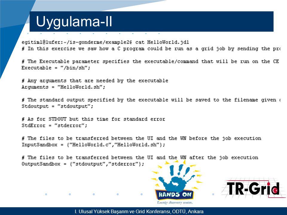 YEF @ TR-Grid Okulu, TAEK, ANKARA Uygulama-II I.