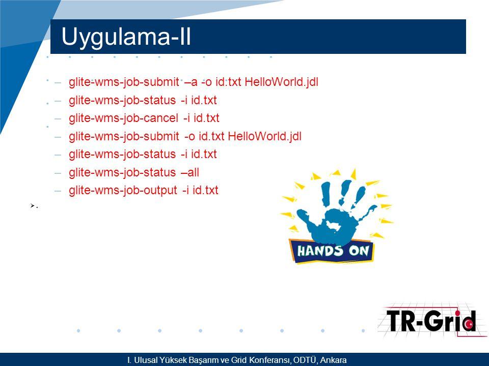 YEF @ TR-Grid Okulu, TAEK, ANKARA Uygulama-II –glite-wms-job-submit –a -o id.txt HelloWorld.jdl –glite-wms-job-status -i id.txt –glite-wms-job-cancel -i id.txt –glite-wms-job-submit -o id.txt HelloWorld.jdl –glite-wms-job-status -i id.txt –glite-wms-job-status –all –glite-wms-job-output -i id.txt .