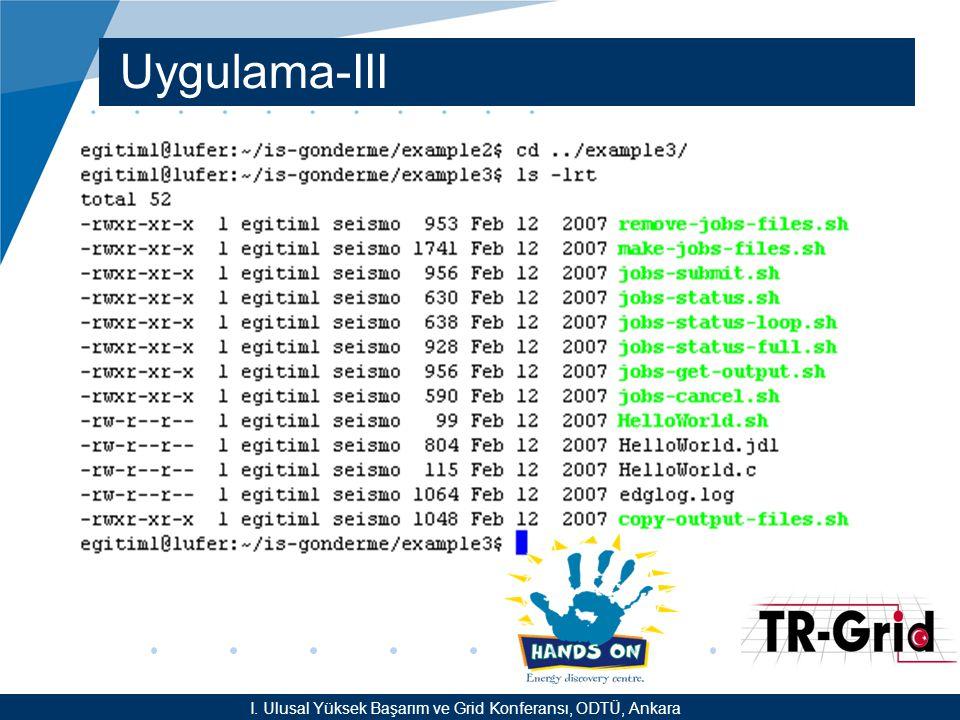 YEF @ TR-Grid Okulu, TAEK, ANKARA Uygulama-III I.