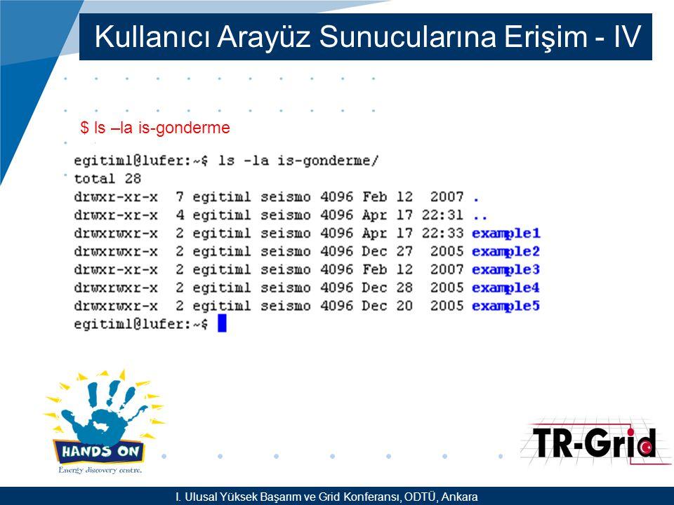 YEF @ TR-Grid Okulu, TAEK, ANKARA Kullanıcı Arayüz Sunucularına Erişim - IV $ ls –la is-gonderme I.