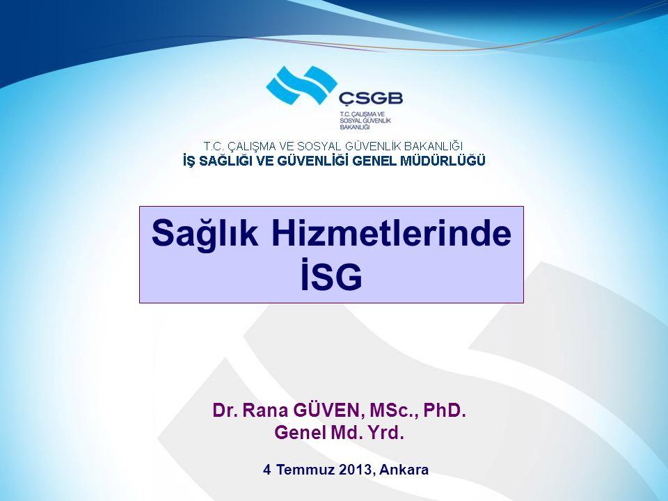 Dr. Rana GÜVEN, MSc., PhD. Genel Md. Yrd. 4 Temmuz 2013, Ankara Sağlık Hizmetlerinde İSG