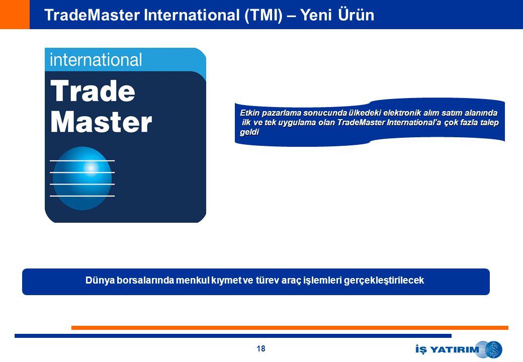 18 TradeMaster International (TMI) – Yeni Ürün Dünya borsalarında menkul kıymet ve türev araç işlemleri gerçekleştirilecek Etkin pazarlama sonucunda ü