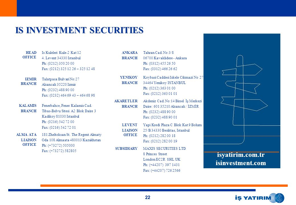 22 IS INVESTMENT SECURITIES isyatirim.com.tr isinvestment.com HEAD OFFICE Is Kuleleri Kule-2 Kat 12 4. Levent 34330 Istanbul Ph: (0212) 350 20 00 Fax: