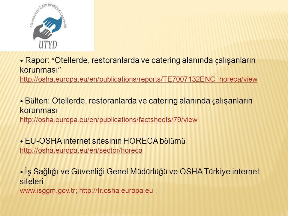 """Rapor: """" Otellerde, restoranlarda ve catering alanında ç alışanların korunması """" http://osha.europa.eu/en/publications/reports/TE7007132ENC_horeca/vie"""