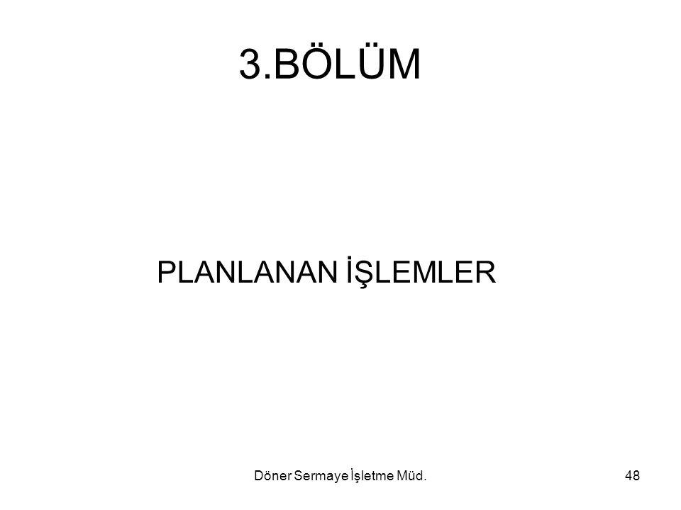 Döner Sermaye İşletme Müd.48 3.BÖLÜM PLANLANAN İŞLEMLER