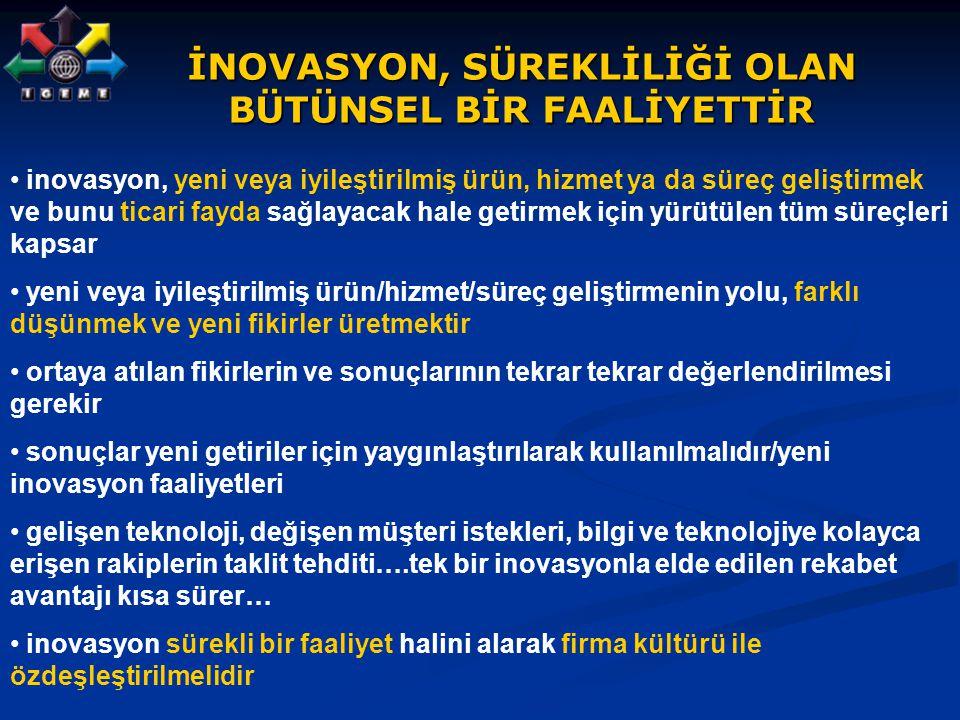 İNOVASYON, SÜREKLİLİĞİ OLAN BÜTÜNSEL BİR FAALİYETTİR inovasyon, yeni veya iyileştirilmiş ürün, hizmet ya da süreç geliştirmek ve bunu ticari fayda sağ