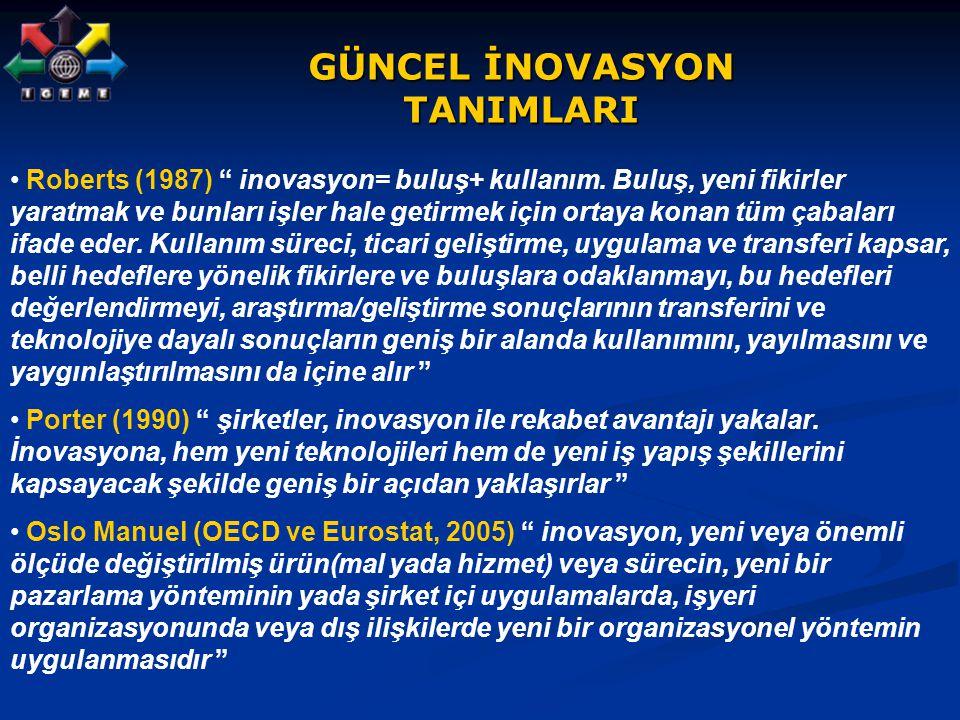 """GÜNCEL İNOVASYON TANIMLARI Roberts (1987) """" inovasyon= buluş+ kullanım. Buluş, yeni fikirler yaratmak ve bunları işler hale getirmek için ortaya konan"""