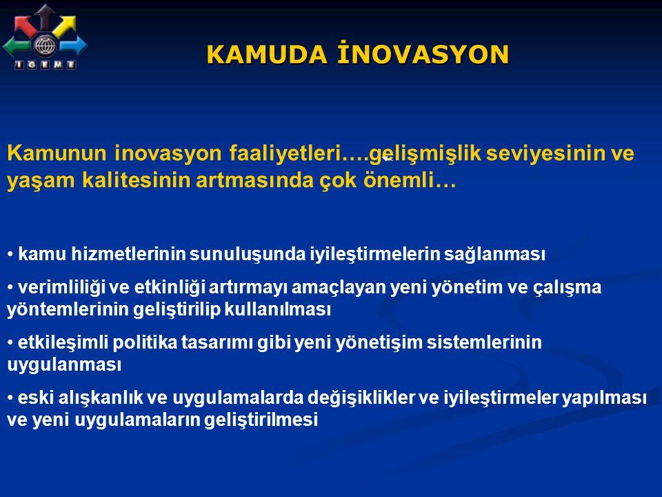 KAMUDA İNOVASYON KAMUDA İNOVASYON Kamunun inovasyon faaliyetleri….gelişmişlik seviyesinin ve yaşam kalitesinin artmasında çok önemli… kamu hizmetlerin