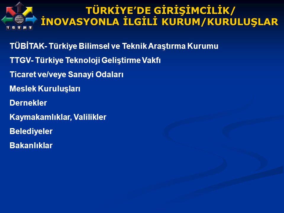 TÜRKİYE'DE GİRİŞİMCİLİK/ TÜRKİYE'DE GİRİŞİMCİLİK/ İNOVASYONLA İLGİLİ KURUM/KURULUŞLAR TÜBİTAK- Türkiye Bilimsel ve Teknik Araştırma Kurumu TTGV- Türki