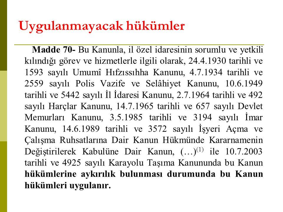 Uygulanmayacak hükümler Madde 70- Bu Kanunla, il özel idaresinin sorumlu ve yetkili kılındığı görev ve hizmetlerle ilgili olarak, 24.4.1930 tarihli ve