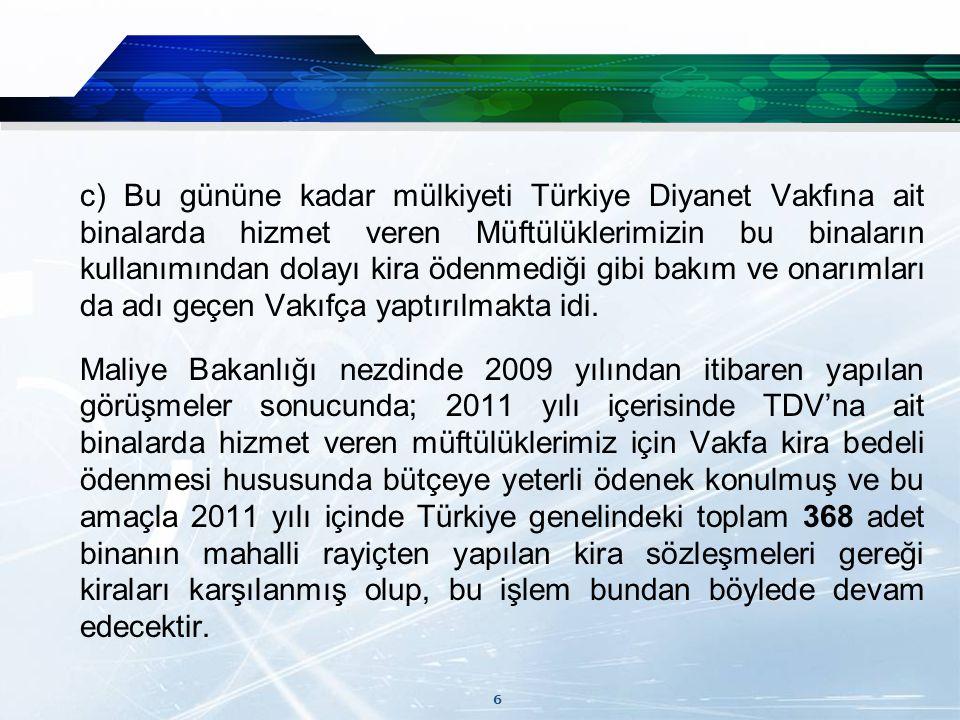 6 c) Bu gününe kadar mülkiyeti Türkiye Diyanet Vakfına ait binalarda hizmet veren Müftülüklerimizin bu binaların kullanımından dolayı kira ödenmediği gibi bakım ve onarımları da adı geçen Vakıfça yaptırılmakta idi.